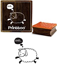 Printtoo Sleeping Sheep Clip Art Design Square Wooden Rubber Stamp Diary Card-3 x 3 inches