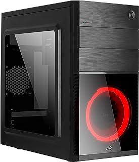 Aerocool Cs105Rd Caja De Ordenador Con Ventana Acrílica, Ventilador Frontal, Rojo