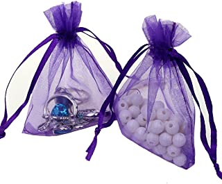 Organza Bags 100pcs 4 x 6 Inch Gift Bags Organza Drawstring Pouch Jewelry Party Wedding Favor Party Festival Gift Bags Candy Bags (Purple)