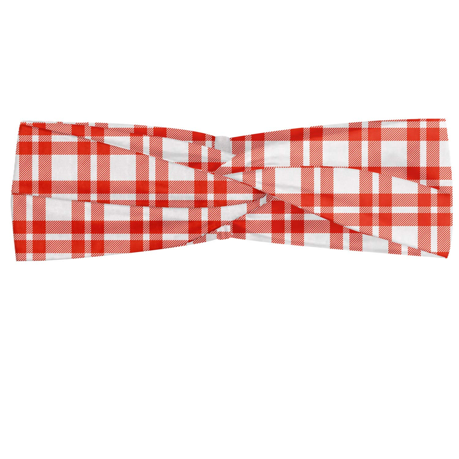 Ambesonne Plaid Headband, Colored and Checkered Country Picnic Pattern Repeating Squares Stripes Modern, Elastic and Soft Women's Bandana for Sports and Everyday Use, Vermilion White