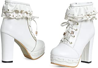 Womens Office Party Sweet Lolita Platform Chunky High Heel PU Lace up Ankle Boots