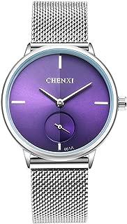 Women's Silver Stainless Steel Woven Mesh Strap Wrist Watch Simple Design Analog Display Quartz Watch