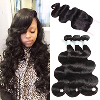 ANNELBEL Brazilian Virgin Hair Body Wave with Closure 8A Unprocessed Human Hair Bundles with Lace Closure 16 18 20 with 14 Free Part Virgin Brazilian Hair Body Wave Hair Weaves Natural Black