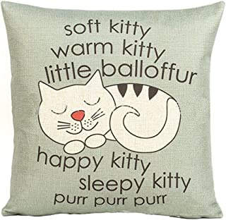 Aremazing Cartoon Animal Cotton Linen Home Decor Pillowcase Throw Pillow Cushion Cover 18 x 18 Inches (Happy & Sleepy Kitty)