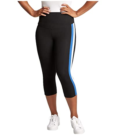Yummie Talia Capri Striped Leggings (Black/True Sapphire/White) Women