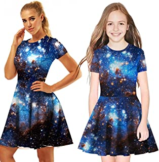 9ede1a5bf31 Fiaya Mommy and Me Casual Pleated Dress Galaxy 3D Digital Printing Princess  Short SleeveFamily Clothes (