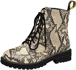Women's Chelsea Boot Fashion Snakeskin Booties Lace-up Ankle Boots with Comfortable Sole