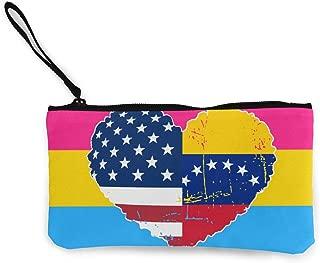 Venezuela USA Flag Heart Canvas Change Coin Purse Assorted Money Bag with Zip White