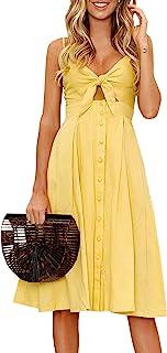 Women Dresses Summer Tie Front V-Neck Spaghetti Strap...