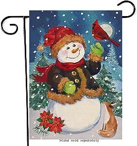 Artofy Christmas Snowman Home Decorative Garden Flag, Xmas House Yard Lawn Cardinal Red Bird Poinsettia Flower Outside Decor, Winter Fox Pine Tree Outdoor Small Burlap Decorations Double Sided 12 x 18