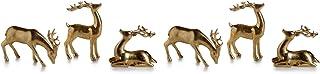 Reindeer Christmas Figurine Holiday Décor, Gold (Set of 6)