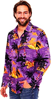 Original King Kameha | Funky Camisa Hawaiana Señores | XS-6XL | Manga Larga Bolsillo Delantero | Impresión de Hawaii | Playa