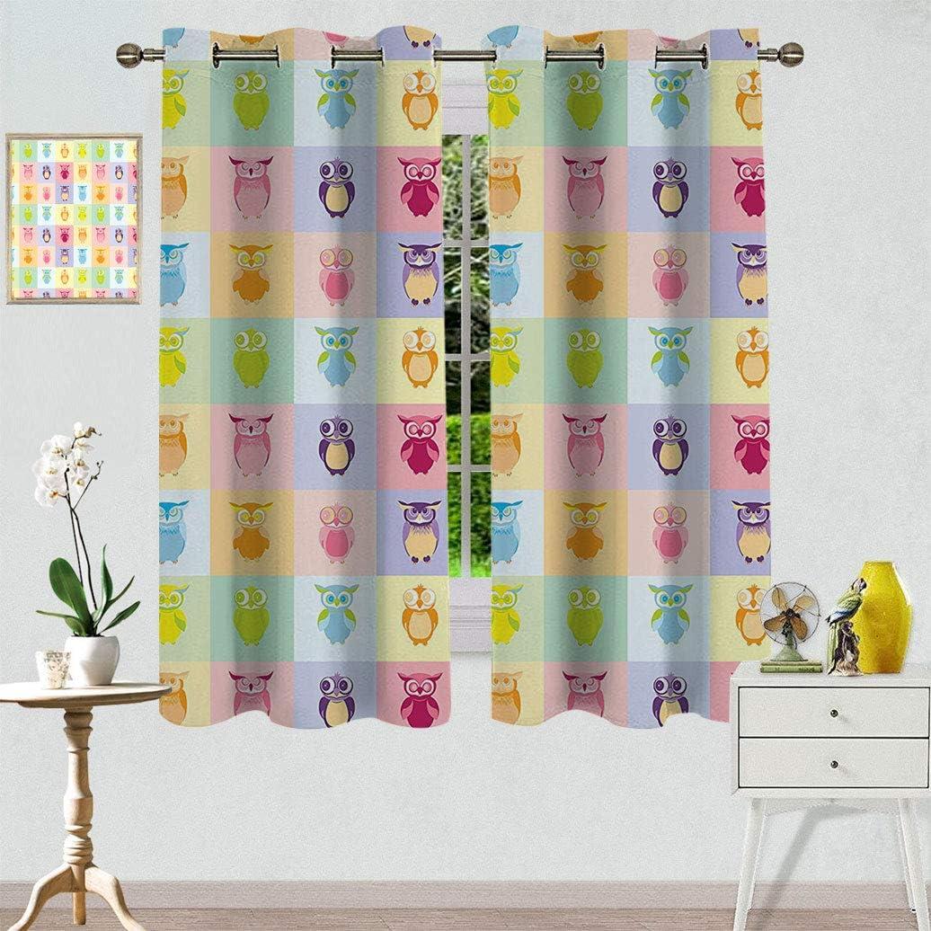 Home Decor Indianapolis Mall Window Curtain Treatments Cute Cartoon Owls Multicol Free shipping