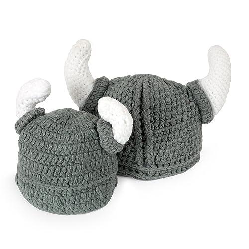 cb3bb7447ff Ypser Baby Adult Beard Viking Knit Hat Barbarian Bull Horn Crochet Beanie  Cap Handmade Knitted