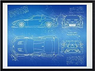 DolanPaperCo #475 Subaru BRZ Rocket Bunny (2013) Art Print, da Vinci Sketch – Unframed – Multiple Size/Color Options (17x22, Blueprint)