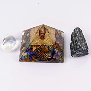 Divine Magic 7 Chakra Orgone Pyramid Stone Brings Overall Harmony, Success in Life | Black Tourmaline Removes Blockages Wh...