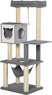 Pawhut Kratzbaum Katzenbaum Kletterbaum für Katzen Mehrstufiges Multiaktivitätszentrum mit Katzenkiste Hängematte Weichkissen E1 Spanplatte Grau&Weiß 59x48x155 cm