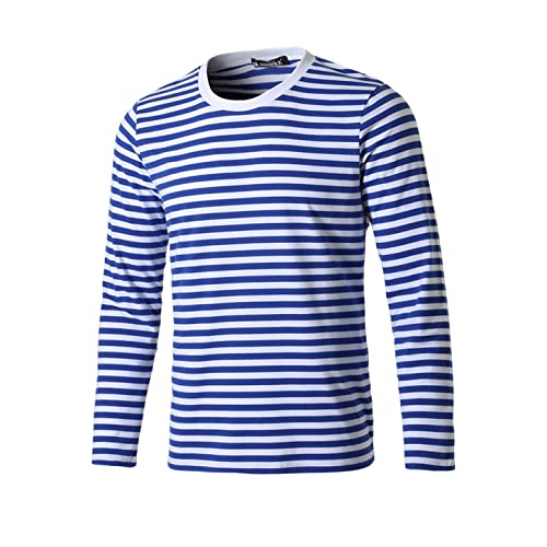 5198d33e2721 uxcell Men Casual Pullover Basic Crew Neck Long Sleeve Striped Tee T Shirt