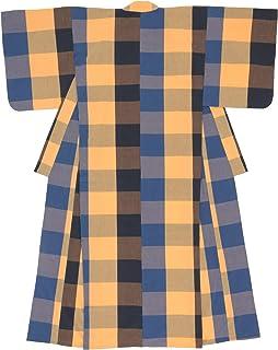 (ソウビエン) 木綿着物 単衣 レディース 伊勢木綿 天然素材 格子 ブルー オレンジ チェック 単品 洗える 仕立て上がり
