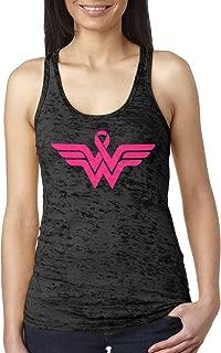 Breast Cancer Awareness Pink Ribbon Superhero Logo Ladies Burnout Tank Top
