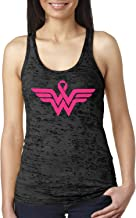 Breast Cancer Awareness Pink Ribbon Superhero Logo Ladies Burnout Tank Top