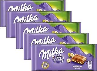 Milka Milk Chocolate with Hazelnuts, 100g/3.5oz (PACK OF 5)