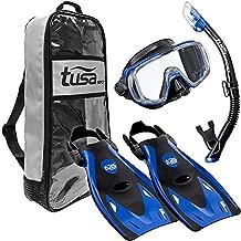 TUSA Sport Adult Black Series Visio Tri-Ex Mask, Dry Snorkel, and Fins Travel Set
