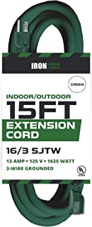 15 Foot Outdoor Extension Cord - 16/3 SJTW Durable Green Extension Cable with 3 Prong Grounded Plug for Safety - Great for Christmas Lights, Garden and Major Appliances