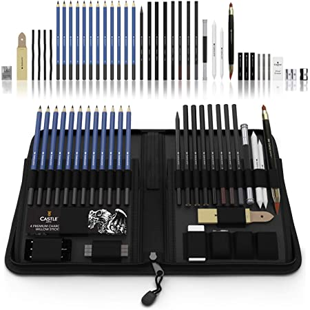 Castle Art Supplies Graphite Drawing Pencils and Sketch Set (40-Piece Kit), Complete Artist Kit Includes Charcoals, Pastels and Zippered Carry Case, Includes Rare Pop-Up Stand