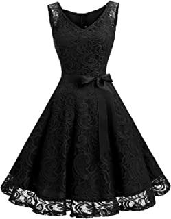 3a13d88049f6 Dressystar Women Floral Lace Bridesmaid Party Dress Short Prom Dress V Neck