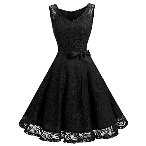 e849dfb77f Dressystar Women Floral Lace Bridesmaid Party Dress Short Prom Dress V Neck