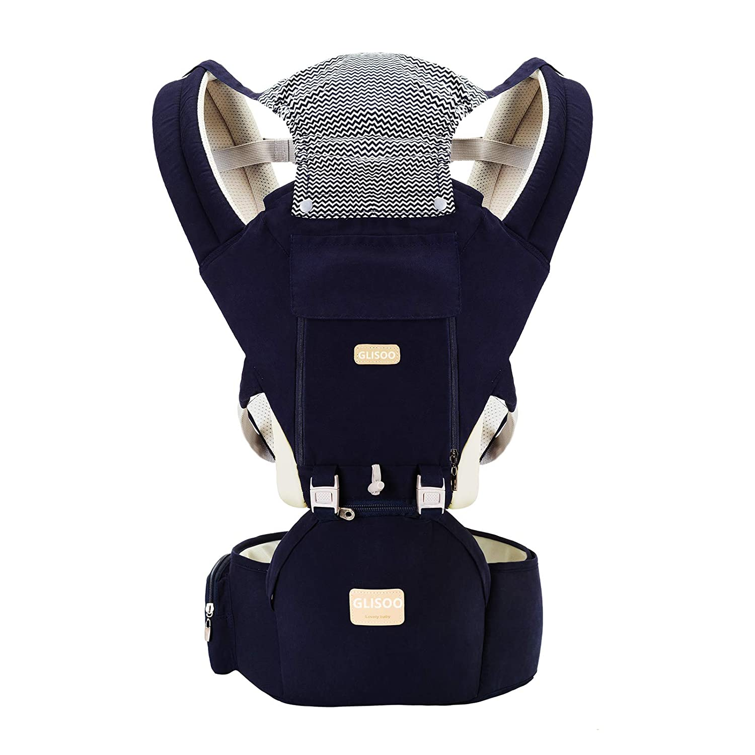 GLISOO Ergonomic 360°Baby Soft Carrier+Easy to Put On 6 Comfortable Positions+Breastfeeding Fits All Newborn+Toddler +HipSeat+ Air Mesh Breathable+All Seasons+Perfect for Hiking+ShoppingBlue)