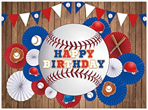 Allenjoy 8x6ft Baseball Theme Happy Birthday Backdrop Supply for Boys Ballgame Party Decoration Blue and Red Flags Sports Bday Banners Props Newborn Kids Baby Shower Photobooth Background
