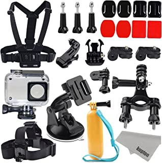 Kupton Accessories for Xiaomi YI 4K/ 4K+/ YI Lite/ YI Discovery 4K Action Camera 40m Waterproof Housing Case + Head Strap + Chest Harness + Car Suction Cup + Bike Handlebar Mount + Floating Grip