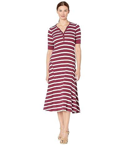 LAUREN Ralph Lauren Waffle Knit Fit-and-Flare Dress (Dark Raspberry/Mascarpone Cream) Women