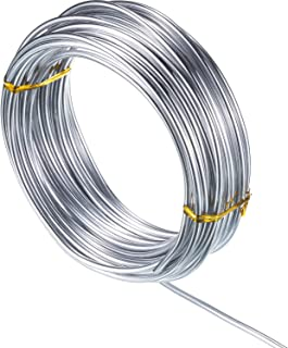 32.8 Feet Copper Aluminum Wire, Bendable Metal Craft Wire for Making Dolls Skeleton DIY Crafts (Silver, 2 mm Thickness)