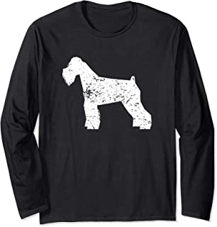 Distressed Schnauzer Silhouette Dog Owner Long Sleeve T-Shirt