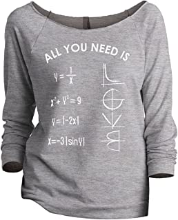 All You Need is Love (Math) Women's Fashion Slouchy 3/4 Sleeves Raglan Sweatshirt Sport Grey - coolthings.us