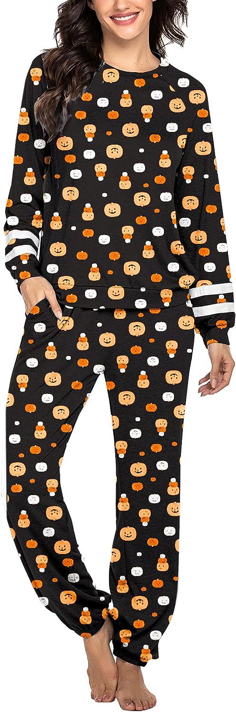 Ekouaer Women's Long Sleeve Pajamas Set with Pockets O Neck Sleepwear Lounge Nightwear (XS-3XL)