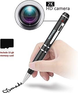 隠しスパイカメラ - スターライトナイトビジョンペンフルHD 1296 pビデオ録画ペン隠しセキュリティカメラ1ピース32ギガバイトメモリカードビデオカメラ検査ミニビデオスパイガジェットモーション検出器