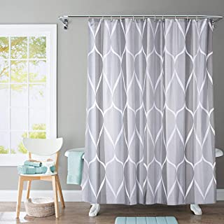Shower Curtain Polyester Fabric Waterproof Machine Washable with 12 Hooks 72x72 Inch (Grey)