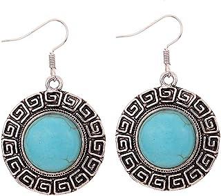 aloiness Pendientes Estilo Etnicos Bohemios Vintage Pendientes de Diamantes de Colores Pendientes para Mujer