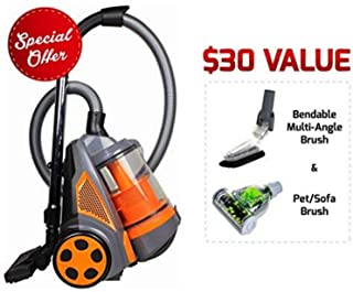 Ovente ST2620O Bagless Canister Cyclonic Vacuum – HEPA Filter – Includes Pet/Sofa, Bendable Multi-Angle, Crevice Nozzle/Bristle Brush, Retractable Cord – Featherlite – ST2620 Series, Orange