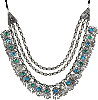 Crunchy Fashion Bollywood Traditional Indian/Bohemian Style Afgani Oxidised Silver Statement Necklace for Women