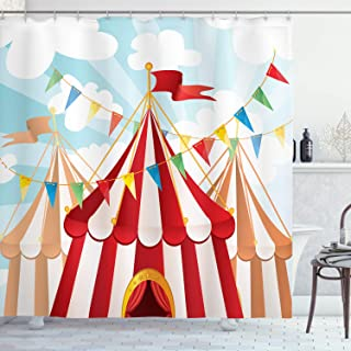 Ambesonne Circus Shower Curtain, Circus Stripes Sunshines Through Cloudy Sky Traditional Performing Arts Theme, Cloth Fabric Bathroom Decor Set with Hooks, 84