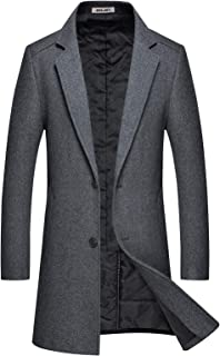 Men's Winter Wool Coats Blend Trench Long Stylish Notched Collar Jacket Single Breasted Cotton Lining Slim Fit Pea Coat