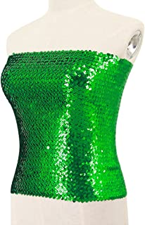 Women Sequin Tube Top Strapless Bandeau Crop Top for Rave Party Club