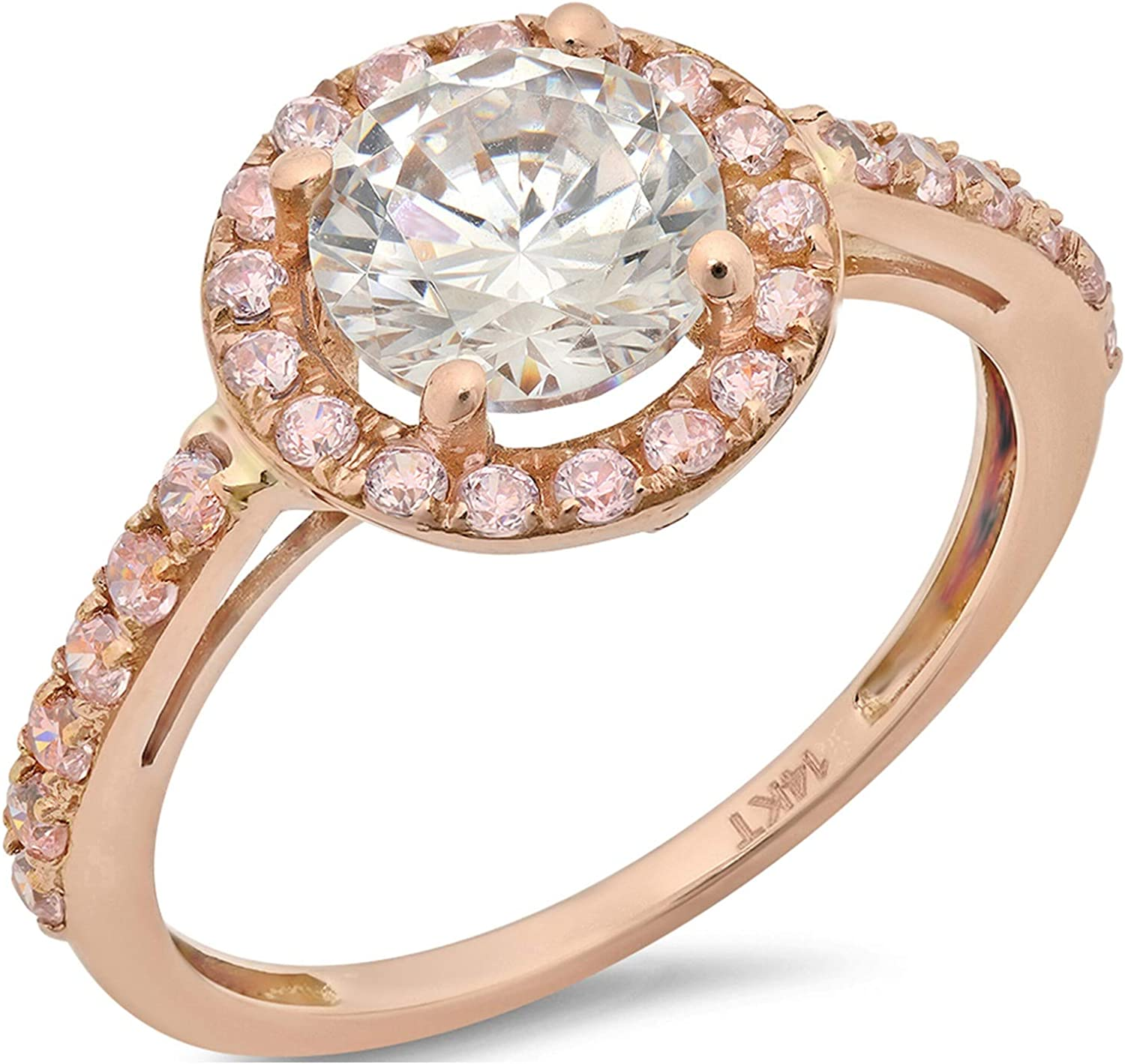 2.40 ct Brilliant Round Cut Solitaire accent Halo Stunning Genuine Lab Created White Sapphire Ideal VVS1 & Simulated Diamond Engagement Promise Statement Anniversary Bridal Wedding Ring 14k Rose Gold