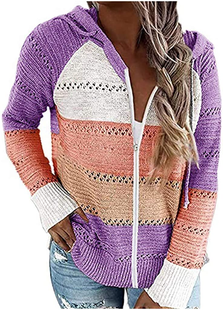 Womens Zip Up Hooded Cardigan Hollow Loose Long Sleeve Sweater Tshirts Fashion Loose fit Coat Tops