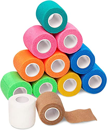 popular Self Adhesive Bandage Wrap - 2021 2 inch by 5 Yards Self Adhesive Non Woven Bandage Rolls - Stretch Wrap outlet sale - Multi Colored Neon Athletic Tape for Wrist - Medical Tape - Vet Wrap (12 Pack) sale